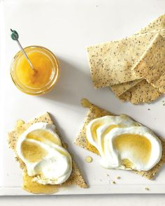 Almond-Poppy Crackers with Cottage Cheese and Honey