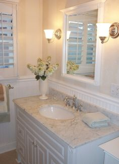 Cottage Bath, Cottage bath, the counter is Carrera Marble.   , Bathrooms Design