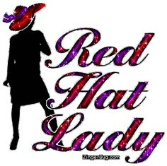 Red Hat Lady Silhouette Glitter Graphic Comment