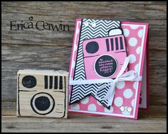 Polka dot Happy and Stampin' Up  Undefined Kit. Stamp hand carved by Erica Cerwin