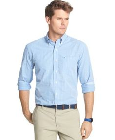Izod Essential Big and Tall Long-Sleeve Gingham Shirt