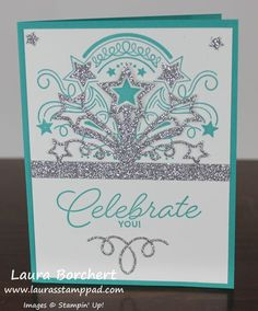 Birthday Blast Stampin' Up Stamp Set, Star Blast Edgelits, Silver Glimmer Paper, Fine Tip Glue Pen, Occasions Mini Catalog, Video Tutorial, www.LaurasStampPad.com