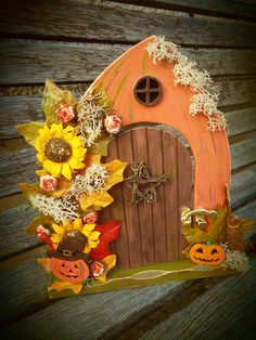 Custom made to order and decorated by hand. Can be personalised. Halloween Clay, Halloween Fairy, Halloween Pumpkins, Diy Fairy Door, Fairy Doors, Door Crafts, Paper Crafts, Elf Door, Autumn Fairy