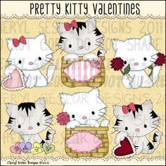 Pretty Kitty Valentines 1 - Clip Art by Cheryl Seslar