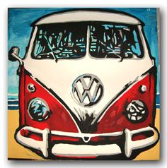 Volkswagen Pop Art Original Handpainted Bespoke Canvas Art from The Kludoman Surf Co.