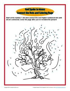 this connect the dots picture is also a coloring page the burning bush is pictureda wonderful reminder that god revealed himself to moses