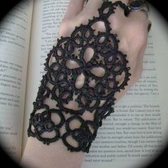 Tatted Slave Bracelet - The Queen's Hand. $35.00, via Etsy.
