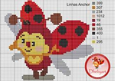 dheby art: Minha Joaninha Butterfly Cross Stitch, Cross Stitch Love, Beaded Cross Stitch, Cross Stitch Animals, Cross Stitch Embroidery, Cross Stitch Patterns, Pixel Crochet Blanket, Plastic Canvas Patterns, Cross Stitching