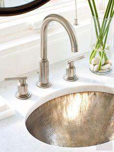 hammered nickel sink, faucet