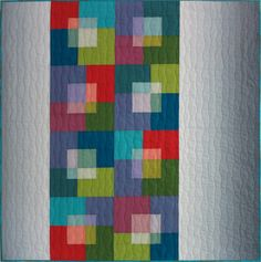 "Transparent Squares by Christine Barnes. Made with shot cottons from Kaffe Fassett for the blocks.  ""Layered transparency—the illusion that one area of see-through color floats above another plane of color—is easy to achieve if the values are right."""