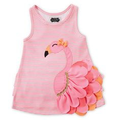 Your child can show some Floridian style when you dress her in this fun and fancy Mud Pie Flamingo Dress. It features a sleeveless-tank style with pink and white stripe fabric behind a fabulous bright pink flamingo applique with red and orange feathers.