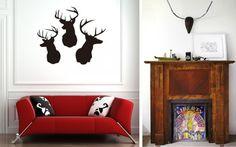decorar paredes con cabezas de ciervo