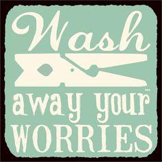 Wash Away Your Worries Vintage Metal Art Retro Laundry Room Tin Sign