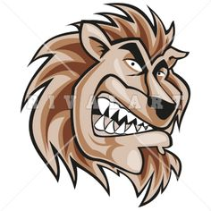 Mascot Clipart Image of A Lions Mascot Head In Color
