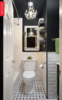 MIRROR MADE TO LOOK LIKE WINDOW Before & After: A Boring Bathroom Gets Some Dark Drama — Sweeten