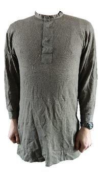 Grandad shirt, Swedish army Grey / green Thermal Vintage undershirt, New old Stock