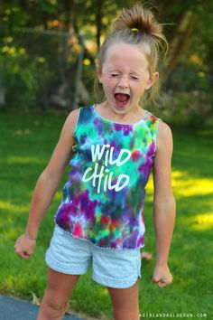tie dye shirts updated with heat transfer material & the Silhouette CAMEO - A girl and a glue gun