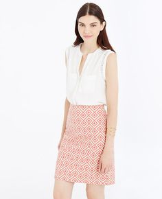 """Boasting a covetable diamond print, this is the skirt of the season: colorful, confident and graphically gorgeous. Hidden back zipper with hook-and-eye closure. Lined. 19"""" long."""