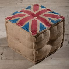 Find it at the Foundary - Union Jack Burlap Pouf Rustic Industrial Furniture, Pouf Ottoman, Union Jack, Boy Room, Furniture Making, Decorative Items, Home And Living, Home Remodeling, Vintage Inspired