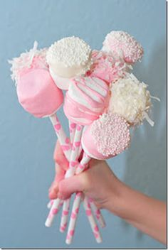 Marshmallow pops!  Very pretty!