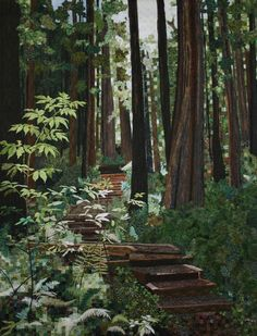 Forest Walk by Pat Durbin    Awarded 3rd place in the Paducah AQS show 2010, also a 3rd place in Int'l Quilt Festival in Houston 2010; and now resides in the National Quilt Museum in Paducah KY.   Fantastic!!!!