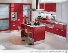 Extremely Hot Red Kitchen Cabinets