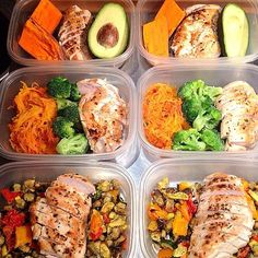 "(1) Grilled chicken, sweet potato and 1/2 avocado. (2) Grilled chicken & Spaghetti Squash ""Pasta"" with tomato sauce (or diced tomatoes) and steamed or roasted broccoli (3) Grilled chicken and coconut oil roasted veggies including eggplant, bell peppers"