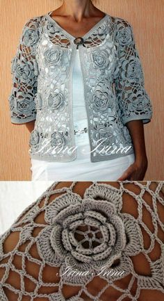 Hook – Motives – Products – Irish Lace # lace Fauna and Flora are two terms … Pull Crochet, Crochet Coat, Crochet Cardigan Pattern, Crochet Jacket, Crochet Blouse, Love Crochet, Irish Crochet, Vintage Crochet, Crochet Clothes