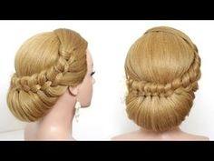 Elegant Hairstyle For Long Medium Hair Tutorial. Wedding Prom Updo - YouTube