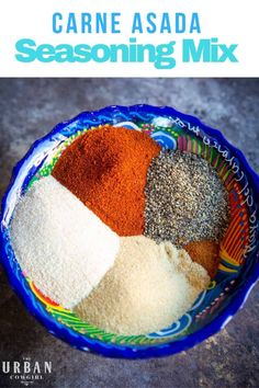 This recipe for carne asada dry rub seasoning helps you create a rich brown sear on beef for tacos and fajitas by eliminating the excess liquid found in marinades. | Get the recipe now on UrbanCowgirlLife.com! | Tailgating Recipes, Barbecue Recipes, Grilling Recipes, Fajita Seasoning, Seasoning Mixes, Mexican Side Dishes, Dry Rub Recipes, Beef Fajitas, Mexican Food Recipes