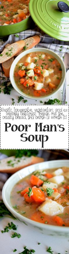 Poor Man's Soup is a budget-friendly recipe that tastes like a million bucks! Root vegetables are simmered in a vegetable broth with simple seasonings; a humble soup best served with bread for a wholesome, easy dinner. A few years back,… Best Soup Recipes, Chowder Recipes, Chili Recipes, Vegetarian Recipes, Dinner Recipes, Cooking Recipes, Healthy Recipes, Healthy Meals, Frugal Recipes