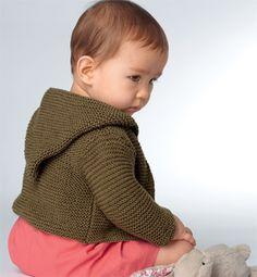 Modèle gilet capuche point mousse - Modèles tricot layette - Phildar