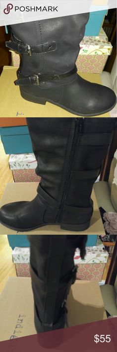 New Black Buckle Tall Boots New Black boots with inside zipper and buckles indigo rd Shoes Combat & Moto Boots