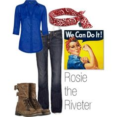 I want to go as Rosie the Riveter Friday since we get to dress up at work! Does anyone have a small blue button down shirt I can borrow? Pretty please?