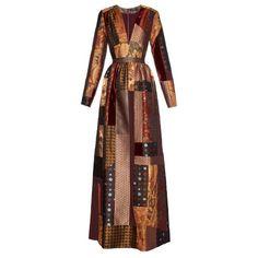 ETRO Amy Lou patchwork-jacquard dress ($4,030) ❤ liked on Polyvore featuring dresses, orange multi, bohemian style dresses, boho chic dresses, jacquard dress, orange dress e etro