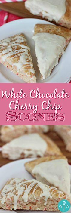 White Chocolate Cherry Chip Scones – Made with a cake mix, these scones are full of cherry flavor and super easy to make! Brunch Recipes, Sweet Recipes, Breakfast Recipes, Dessert Recipes, Breakfast Ideas, Cherry Desserts, Cherry Recipes, Chocolate Cherry, White Chocolate