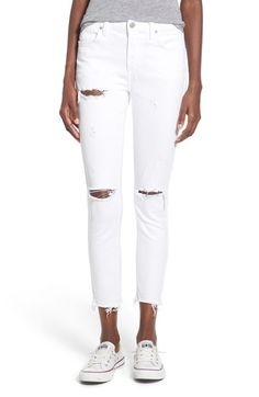 A Gold E 'Sophie' Distressed Crop Skinny Jeans (Off Spring) available at #Nordstrom