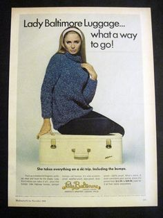 Vintage 1968 Lady Baltimore Pretty Blonde Girl Sitting on Luggage 60's Print Ad