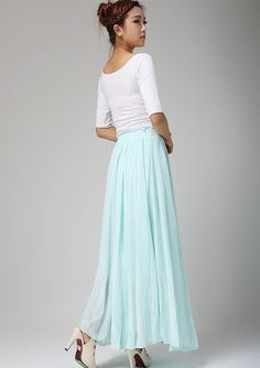 Maxi chiffon skirt long skirt aqua skirt swing skirt by xiaolizi