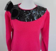 Pink Angora Silk Sweater Small Black Sequins Bow Fuchsia VTG 1980sIB Diffusion