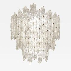Large Venini Brass and Textured Glass Chandelier