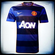 Manchester United Away Jersey 2011  The new Manchester United away kit is an interesting introduction as it sees the Champions wearing black and blue hoops for the first time in their history. Worn with black shorts and black socks, it's reminiscent of the Inter Milan kit. (Launch date July 15th 2011. Expires July 2012).