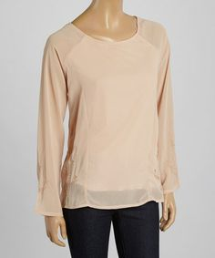 This Natural Embroidered Scoop Neck Top by Simply Irresistible is perfect! #zulilyfinds