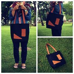 My Creation :) #sewing #leather #totebag #fabric #creation