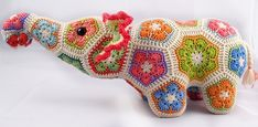 Heidi Bears: Nellie the Elephant African Flower Crochet Pattern available Georgene Cook, every single one of your grandkids needs an animal made like this! Crochet Animals, Crochet Toys, Crochet Baby, Knit Crochet, Crochet Elephant, Knitting Toys, Crochet Motif, Crochet Stitches, Crochet Patterns