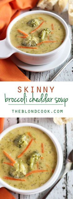 Skinny Broccoli Cheddar Soup ~ Creamy & cheesy without the guilt!