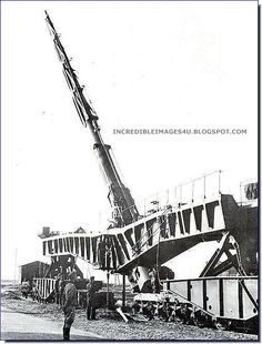 The massive German 203mm railway gun. The shell went up 40 miles into the sky before it fell back onto its target