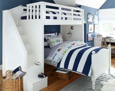 navy walls, navy and white stripe bedding; good idea to accent and make it little boy by changing out sheets, wall art, rugs, etc.