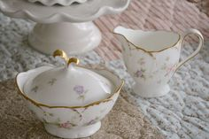 Mikasa Endearment creamer and covered sugar bowl | Home is Where the Boat Is