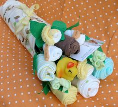 Gender Neutral Baby Shower Gift Bouquet by babyblossomco on Etsy, $35.00